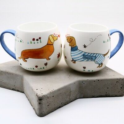 Fine Bone China Mug Sausage Dog Dax Dachshund Print Design Gift, Made In Uk