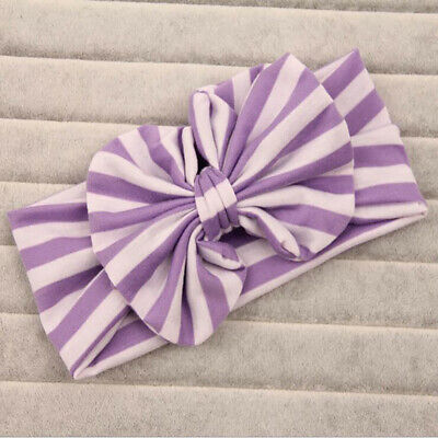 Baby Girls Sweet Stripe Bow Headband Knotted Elastic Headwrap Hair Band LH