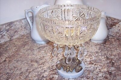 VINTAGE  GLASS COMPOTE BOWL ON METAL PEDESTAL & MARBLE BASE W PRISMS AS IS Italy