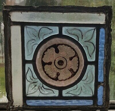 Victorian Painted Kiln Fired Pair Stained Glass Windows