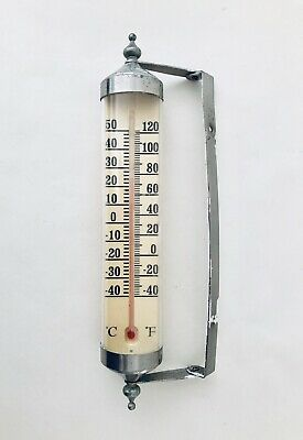 """Vintage Mid Century Indoor/Outdoor Thermometer 12"""" x 4"""", Stainless Steel"""