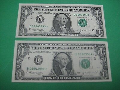 TWO 2003 $1 *STAR* NOTES NEW YORK FEDERAL RESERVE  CONSECUTIVE #s CRISP UNC