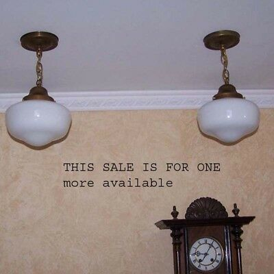 814 1930's-ish Brass SchoolHouse Ceiling LIght Fixture Sale more availabe