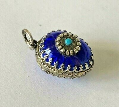 old Russian K. Faberge design 84 SILVER Enamel Egg Pendant with Turquoise