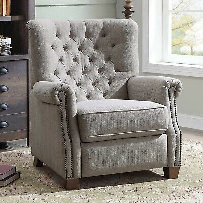Tufted Elegant Push Back Recliner Chair Lazy Padded Seat Wood Furniture Home Boy