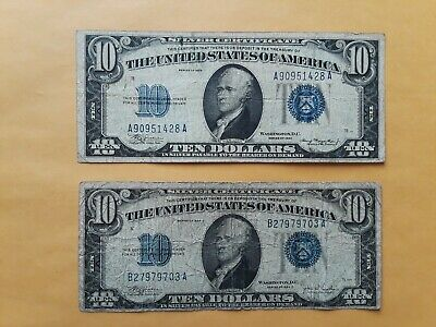 1934 $10 Ten Dollars Blue Seal Silver Certificate Currency (2 Notes)