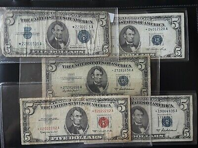 1934/1953/1963 Lot Of 3 $5 US SILVER CERTIFICATES PAPER STAR NOTE FIVE DOLLAR