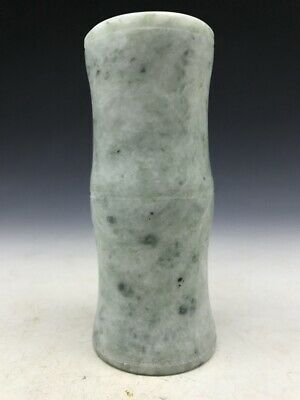 Exquisite Chinese rare pure hand-carved natural jade pen holder.