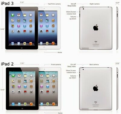 Apple iPad 1 / 2 / 3 / 4 Wi-Fi / Cellular Black - White 16 32 64 1st 2nd 3rd 4rt