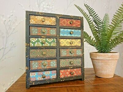 Vintage style wooden Moroccan Drawers small home decor storage bedroom gift
