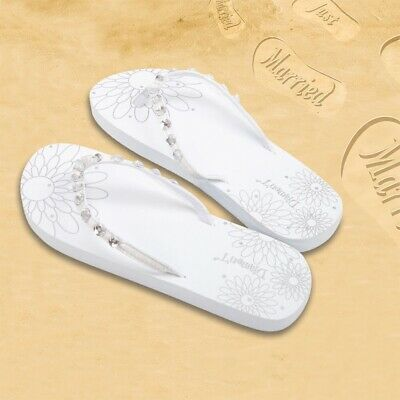 b698aa4cb Honeymoon Just Married Flip Flops Diamante Crystals- White- Large - 7 8 Size