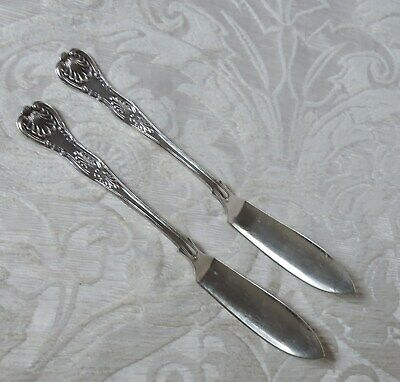 Vintage coppia coltelli pesce Sheffield decoro King Pair Silve Plate Fish Knives