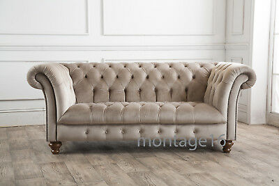 4aed1d4d12a4 Bespoke Montrose 2  3 Seater Button Back Chesterfield Velvet Fabric Sofa