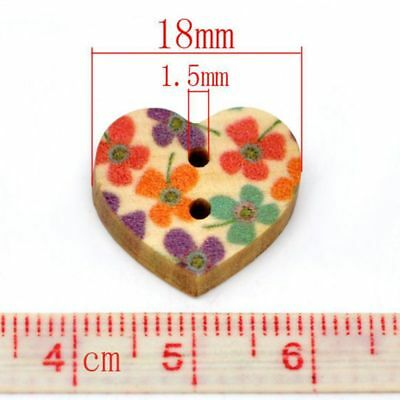 18mm 100Pcs Colorful Heart Shaped Wood Sewing Scrapbooking Buttons DIY 2 Holes