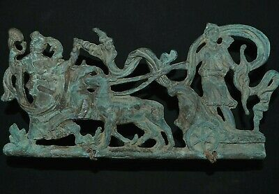 Goddess Diana riding a Biga. Fortuna leading. Ancient Roman Bronze, c 250-350 Ad