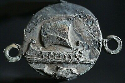 Ancient Roman Pendant Amulet. Galley Boat & Dolphin, 250-350 Ad. Silver-gilded