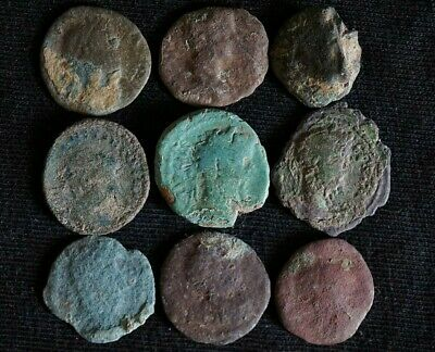 Group of 9 Ancient Roman Imperial Bronze coins, 250-350 Ad. Metal Detector Finds