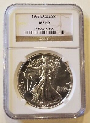 1987 1oz American Silver Eagle Graded NGC MS69 Cert# 4264615-236