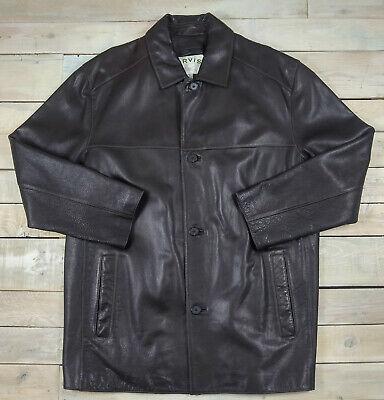 ORVIS Men's Classic Button Front Dark Brown Leather Jacket Size XL