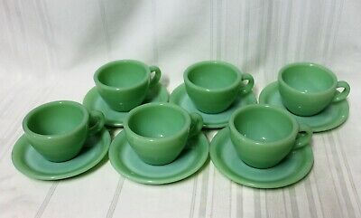 Vintage Fire King Jadeite 1940's Heavy Cups w/ Saucers - Set of 6