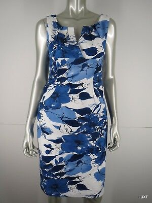 New Adrianna Papell Dress  Cocktail Size 10 Blue White Floral Cotton Sleeveless
