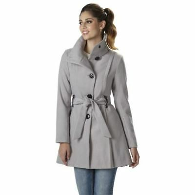 d868388410f0c NEW Steve Madden Women s Belted Drama Coat sz XL Grey tapered bottom  Winterberry