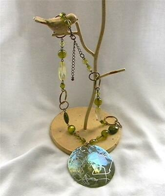 """Vtg. Silver Abstract Design Abalone Shell Pendant Beaded 20"""" Statement Necklace"""