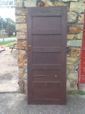 Antique Farmhouse 5 Raised Horizontal Panels Seasoned Wood Door