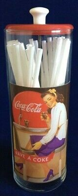 Coca Cola Straw Holder - Clear Tube - Red Top and  White Handle
