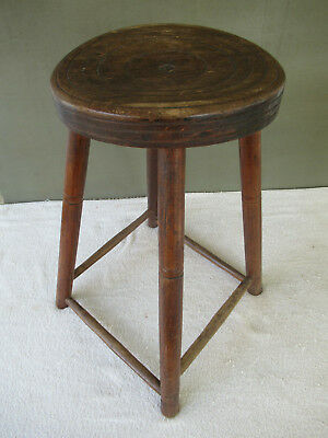 "Antique Stool Primitive Oak Hickory Wood, 22"" Tall 12"" Round Seat, 4-Leg Stand"