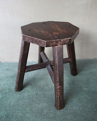 """Vintage Stool Stand Primitive, Four Mortised Splayed Legs, Pine Wood, 14"""" Tall"""