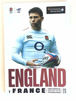 ENGLAND v FRANCE 2019 GUINNESS 6 NATIONS RUGBY PROGRAMME TWICKENHAM FEB 10th