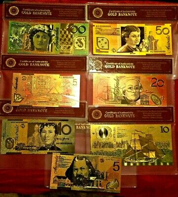 Australia Banknotes 7 Coloured 24K Gold In Coa Case  Polymer Bank Note Set