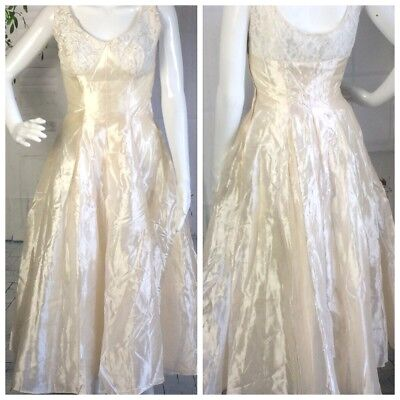 VTG 1950 Wedding Dress Cocktail Fit & Flare Lace Sequin Small Ivory Rockabilly