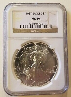 1987 1oz American Silver Eagle Graded NGC MS69 Cert# 4264807-425