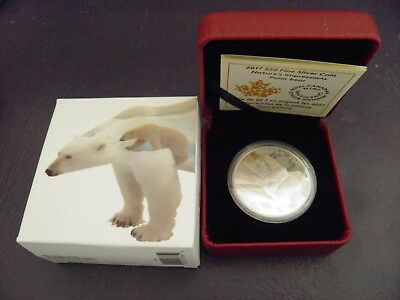 Canada 2017 Nature's Impressions: Polar Bear 1 oz. 99.99% Pure Silver Coin