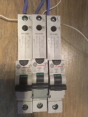 3 X GE DPE 30mA RCBO Circuit Breaker - TESTED
