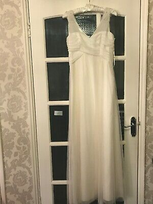 Monsoon Bridal Ivory Crecian Style Dress With Beading Detailing Straps Size 12