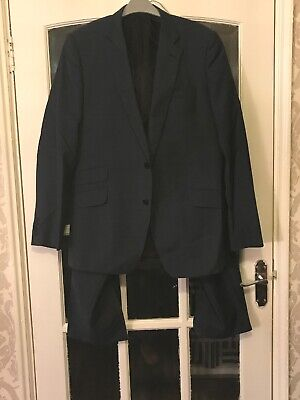 Jaeger Mans Blue/Green 2 Piece Single Breasted Suit Jacket 42r Trousers 36r
