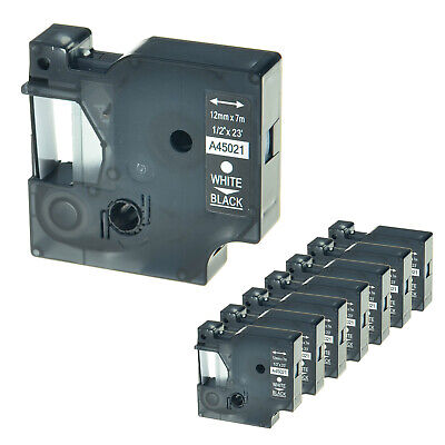 """8 Pack 45021 Compatible for DYMO D1 Label Tape White on Black 1/2"""" 12mm LM 450D"""