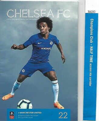 CHELSEA v MANCHESTER UNITED 2018-19 FA CUP 5th ROUND. MATCHDAY PROGRAM & TICKET.