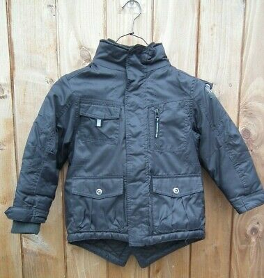 Next Boys School Coat Kids Black Winter Jacket Padded Lined Hooded Waterproof