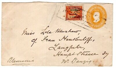 Costa Rica Uprated PSE Cover To Danzig 1911 Stamp AMC