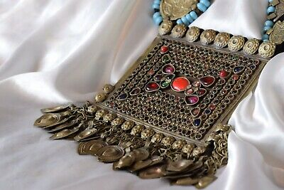 Vintage Antique Islamic Persian Turkmen Long Necklace Tribal Afghan Real Stones