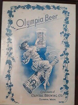 Vintage Collectable Olympia Beer Print in Glass Wooden Frame Capital Brewing Co