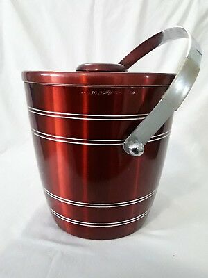 VINTAGE RETRO 1960's ANODISED ALUMINUM ICE BUCKET ~ RED ~ HOT/COLD ~ COMPLETE!!