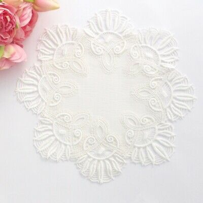 White embroidered lace doily for millinery , hair and crafts