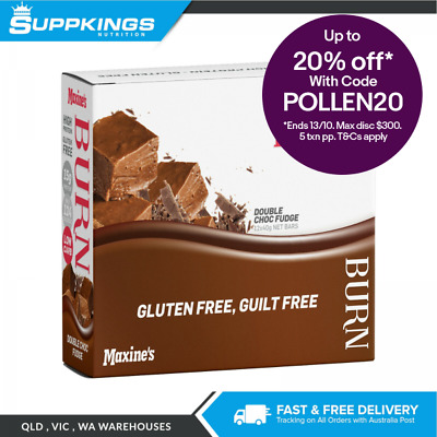 Maxine's Burn Bar 40g (Box of 12) Low Fat Low Carbohydrate Chocolate