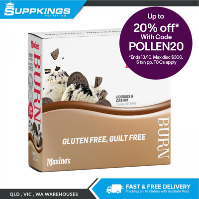 Maxine's Burn Bar 40g (Box of 12) Low Fat Low Carbohydrate Cookies & Cream