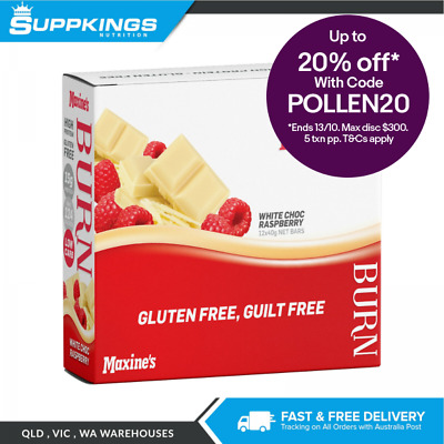 Maxine's Burn Bar 40g (Box of 12) Low Fat Low Carbohydrate White Choc Raspberry